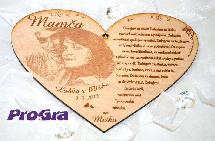 Poďakovanie rodičom - Veľké preglejkové srdiečko - grafika 3 - s fotkou svadobného páru