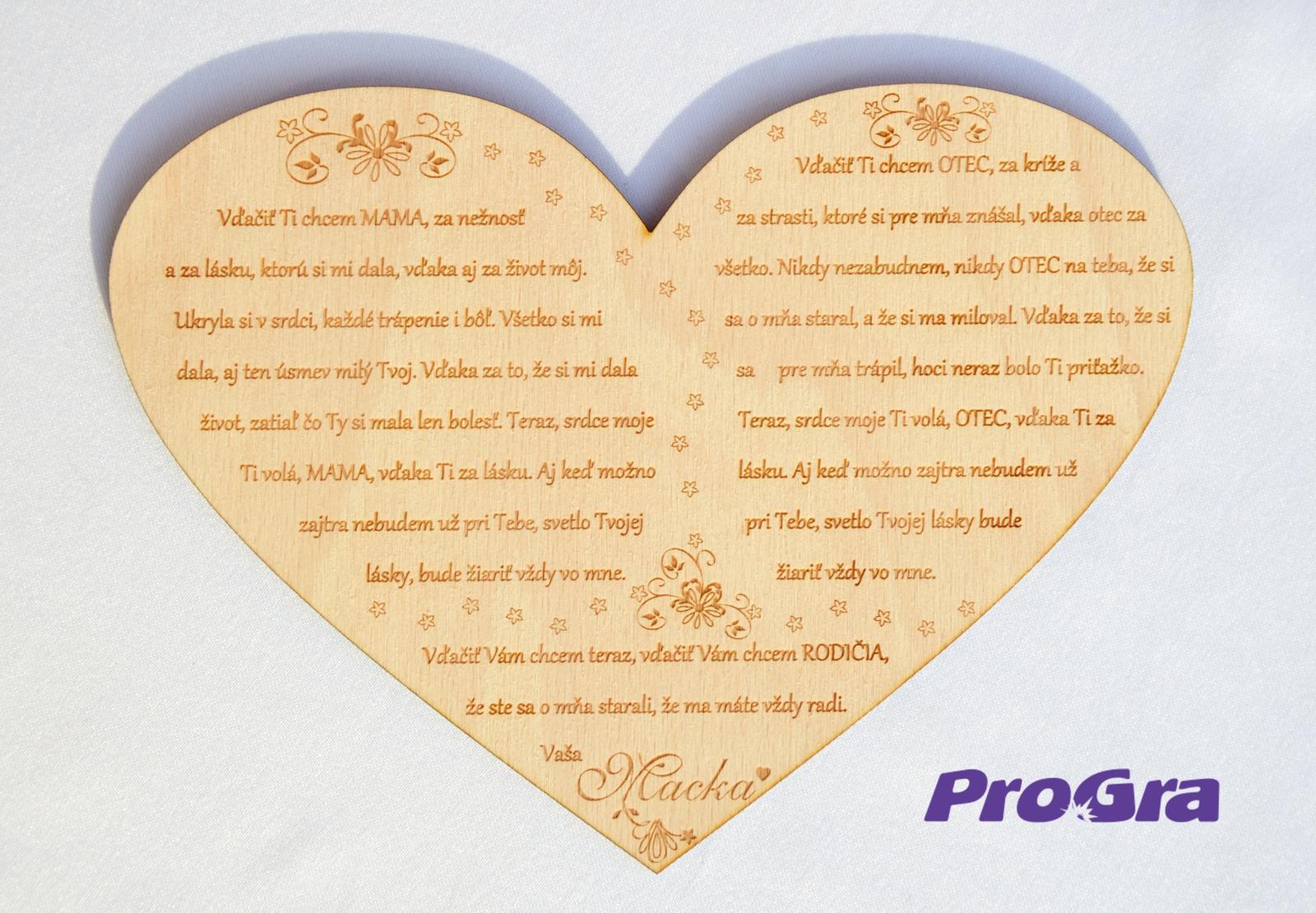 Poďakovanie rodičom - Veľké preglejkové srdiečko s grafikou vyrobenou na mieru podľa požiadaviek nevesty