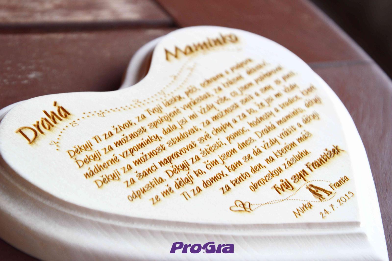 Poďakovanie rodičom - Srdiečka pripravíme aj v cudzích jazykoch - môžete zaslať vlastný text