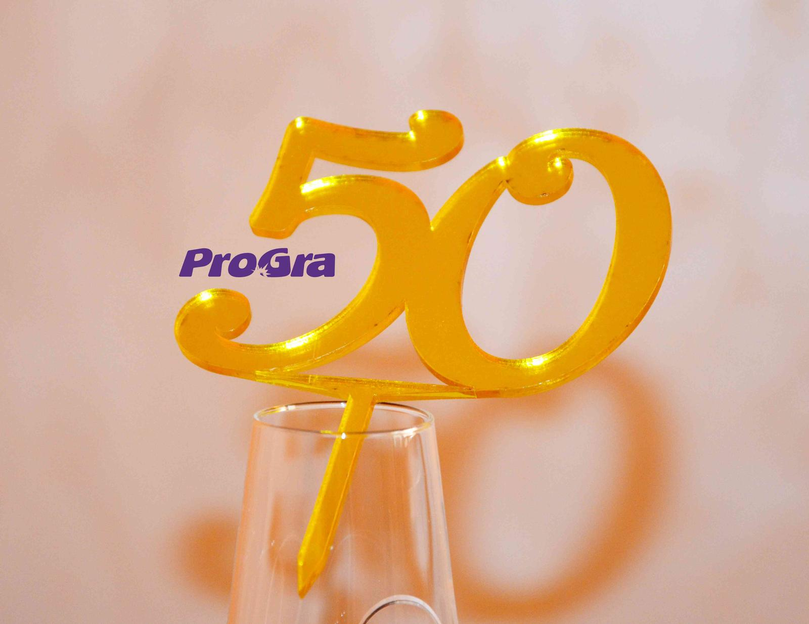 Po svadbičke - Oslavujete výročie svadby alebo jubileum? Radi pre Vás vyrobíme tento žltý zrkadlový zápich z plastu s číslom.