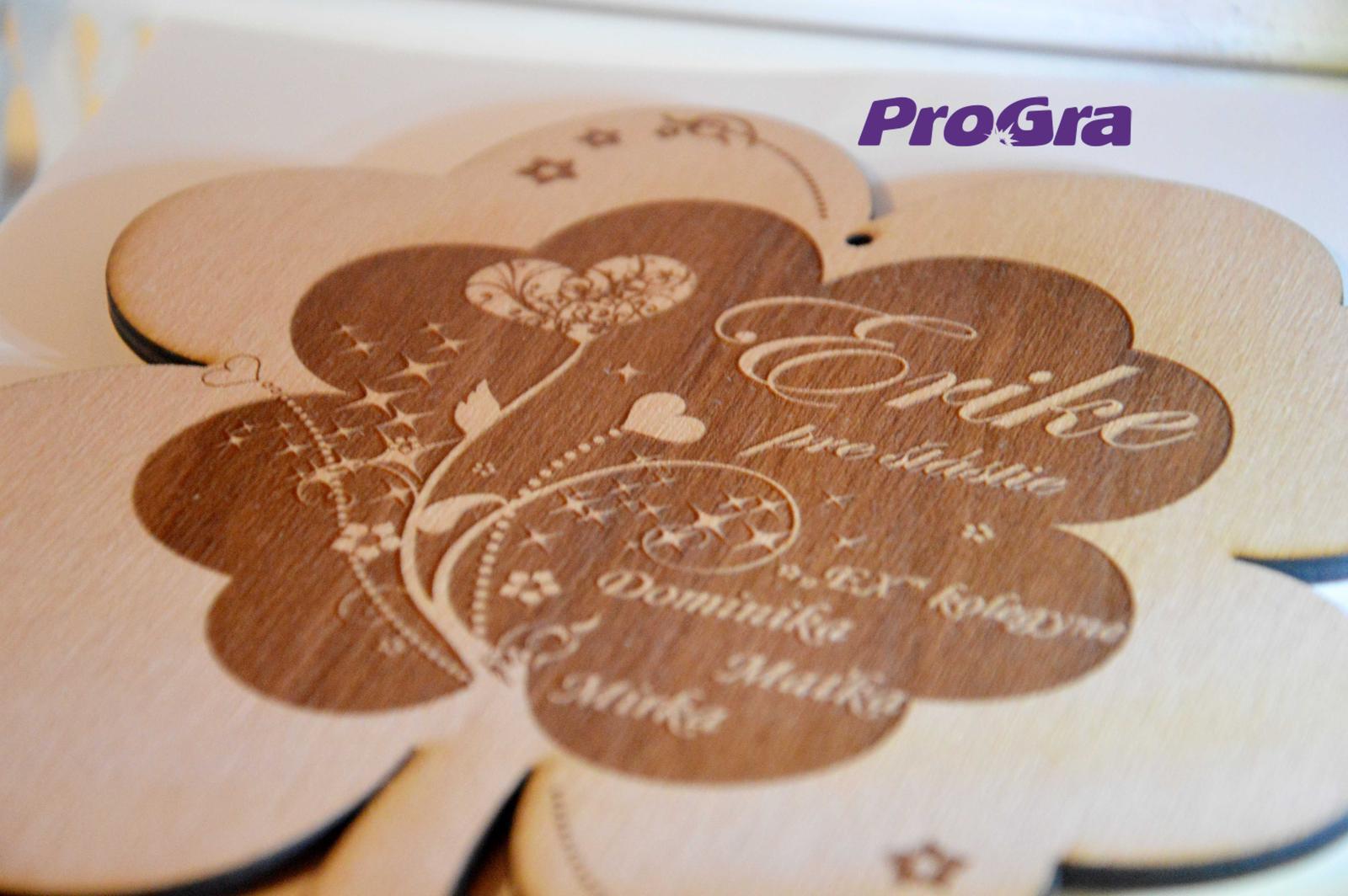 Po svadbičke - štvorlístok pre šťastie - gravírovanie personalizujeme