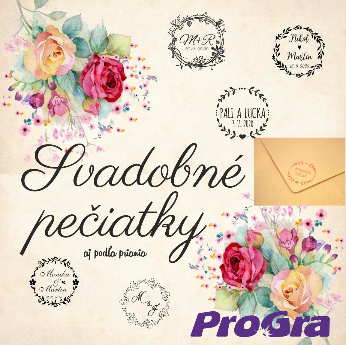 Pečiatky - svadobné - ProGra pre Vás pripraví svadobné pečiatky aj podľa priania - v ponuke aj rôzne pečiatkové farby