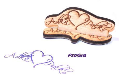 Drevená svadobná pečiatka na mieru - MINI - Obrázok č. 1