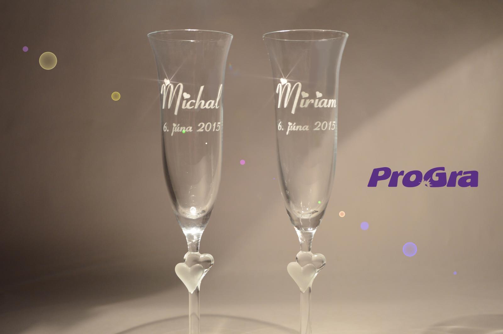 Abigail - svadobné poháre s bielymi srdiečkami 2ks - Obrázok č. 1