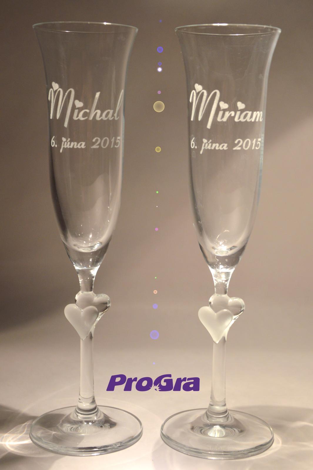 Abigail - svadobné poháre s bielymi srdiečkami 2ks - Obrázok č. 2