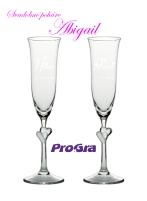 Abigail - svadobné poháre s bielymi srdiečkami 2ks - Obrázok č. 4