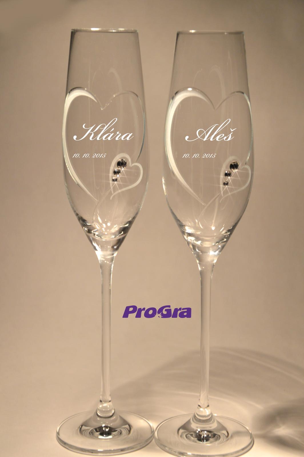 Clara - svadobné poháre - 2ks - Obrázok č. 2