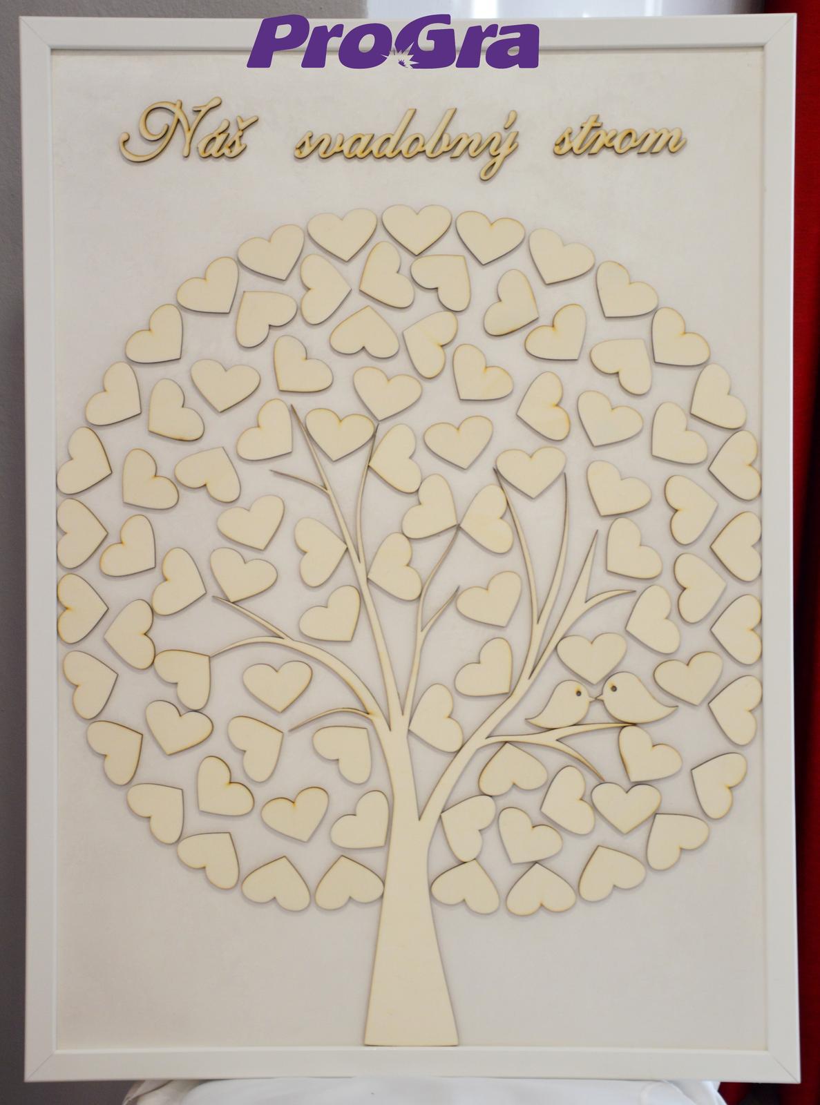 Svadobný obraz-srdiečkový strom s vtáčikmi 50 x 70 - Obrázok č. 1