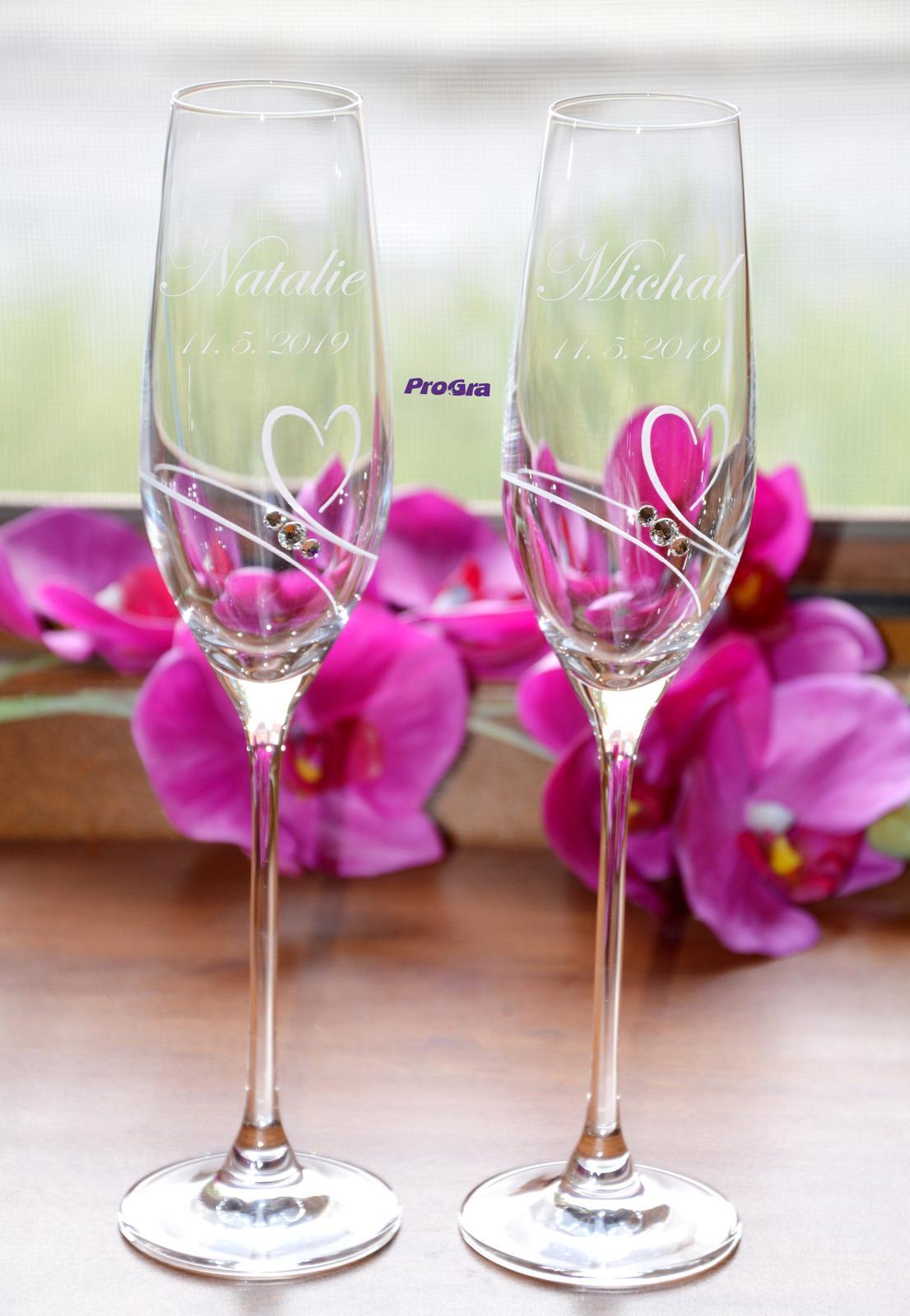 Natalie - svadobné poháre - 2ks  - Obrázok č. 2