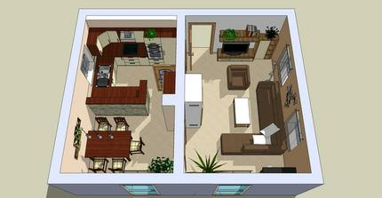 vizualizace kuchyň + obývací pokoj včetně barevnosti
