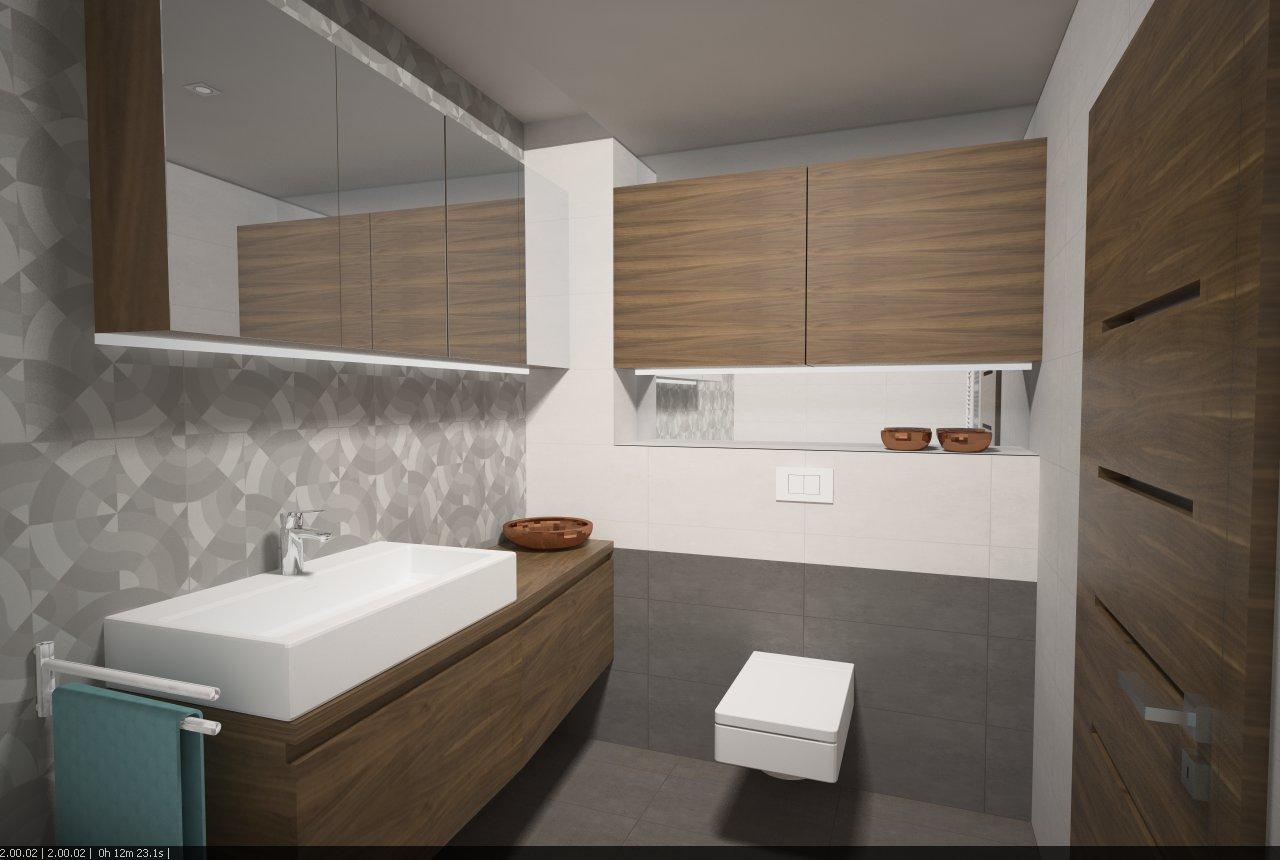 Návrh kúpeľní - novostavba Luxembursko - Finálna varianta kúpeľňa č.2