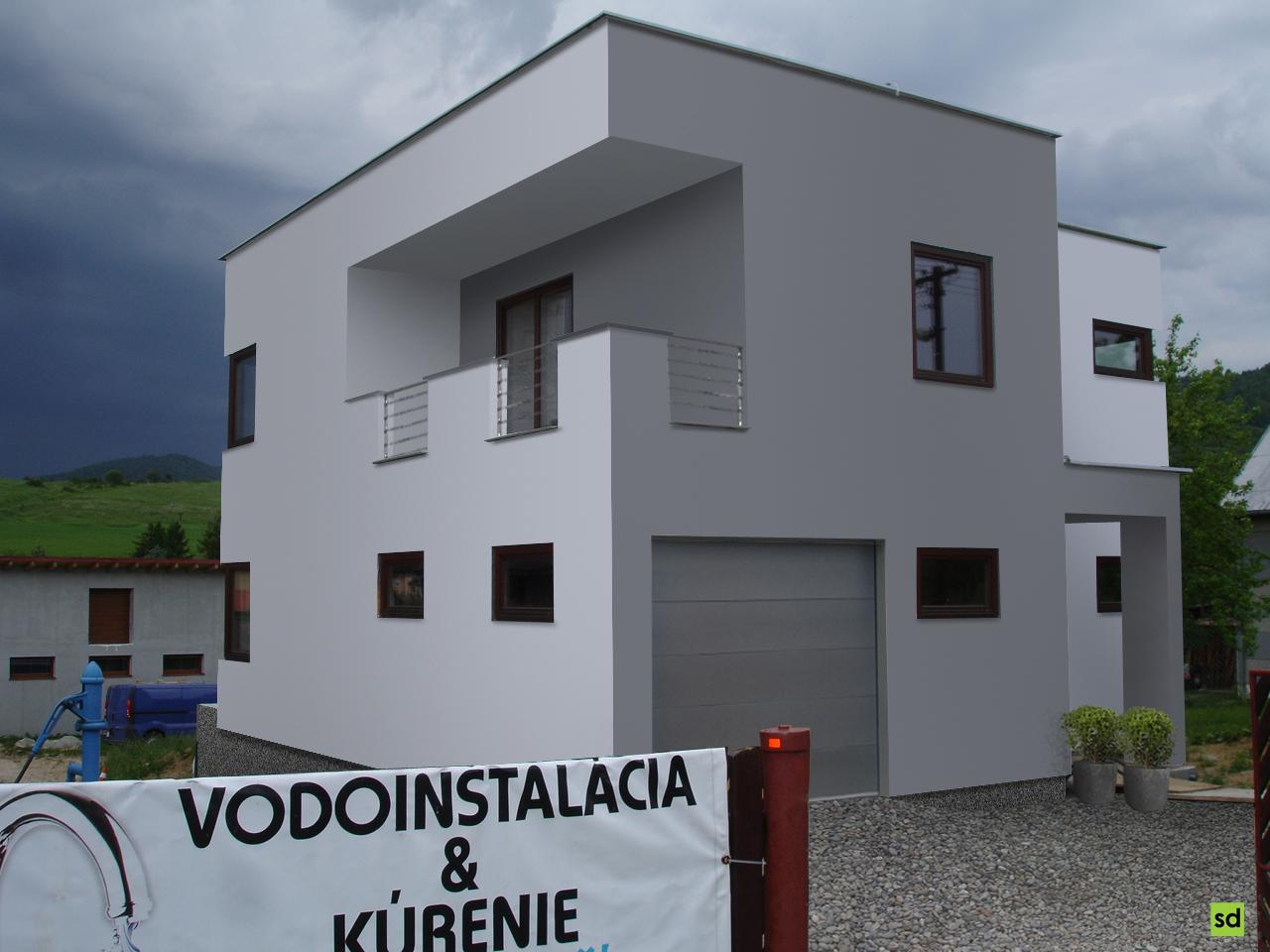 Návrh fasády drevostavby RD, Krompachy - 1. varianta