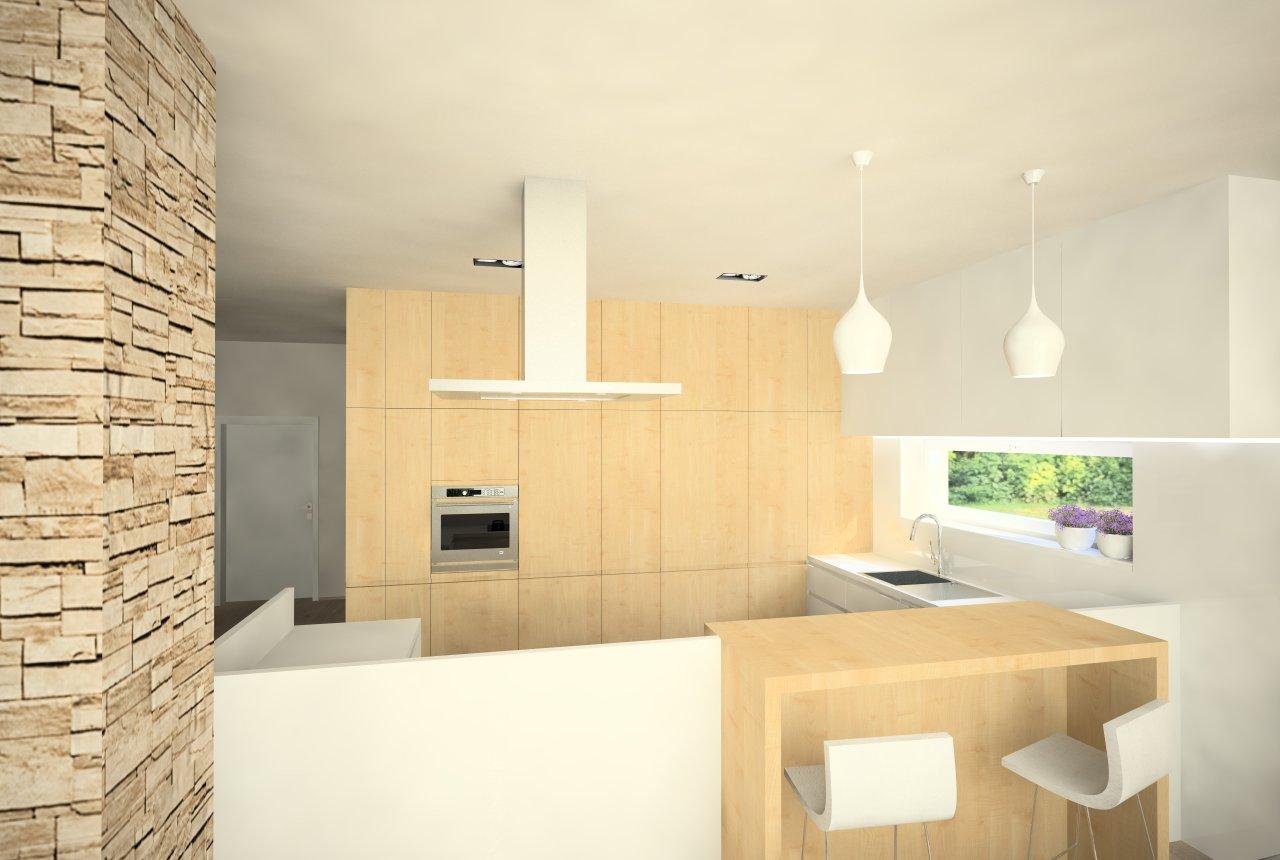 Návrh obývacej izby s kuchyňou RD, Košice - Finálna varianta