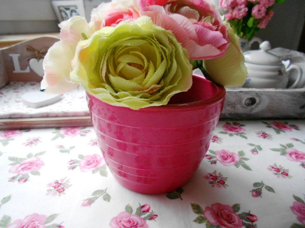 Keramický ružový kvetináč  - Obrázok č. 1