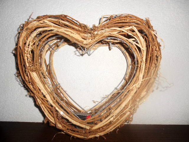 Svadobné MAXI 3D prútené srdce na zavesenie na dve - Obrázok č. 1