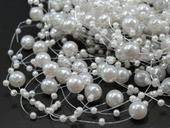 perličky na silonu, bílé,