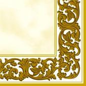 ubrousky smetanové, zlaté lemování,