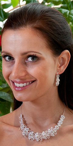 Perličková souprava, náhrdelník + náušnice, bílá - Obrázek č. 1