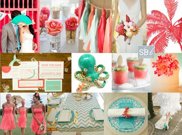 Wedding colour ideas... - Coral&Aqua