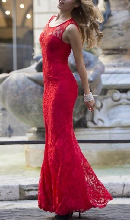 Krajkové elastické dlhé šaty Eva & Lola veľ. 36-38 - Obrázok č. 1