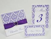 ozdobné spony na svadobné oznámenia, menovky, menu,
