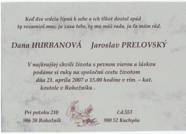 Dana Hurbanová{{_AND_}}Jaroslav Prelovský - Svadobné oznámenie - samovýroba