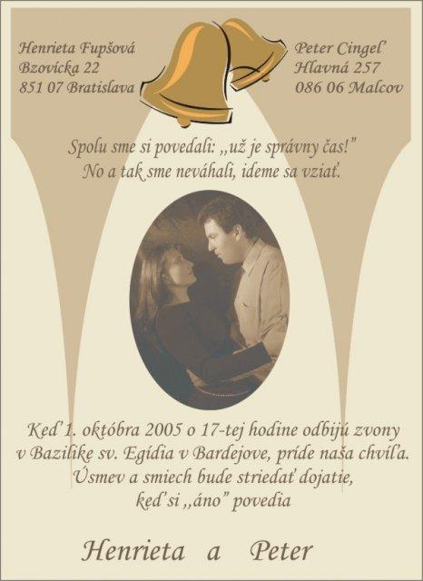 Svadobné oznámenie a ostatné na 1.10.2005 - Oznámenie v slovenskom jazyku