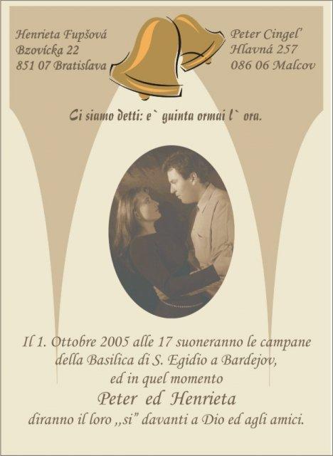 Svadobné oznámenie a ostatné na 1.10.2005 - Oznámenie v talianskom jazyku