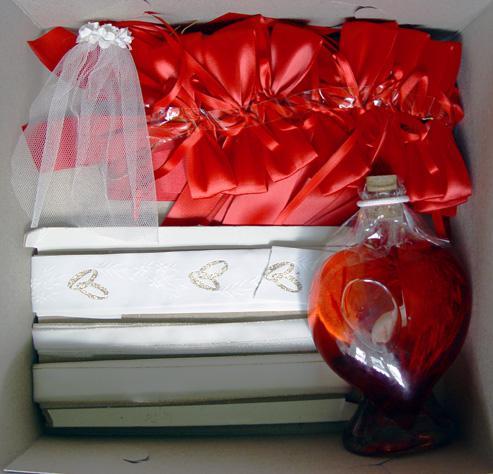 Svadobné oznámenie a ostatné na 1.10.2005 - dekoracia na svadob. stôl a stuhy na autá