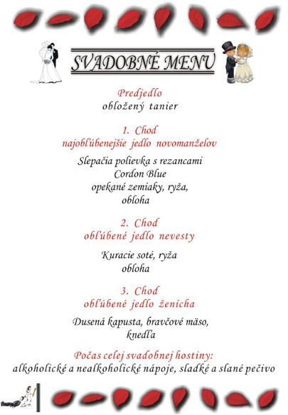 Svadobné oznámenie a ostatné na 1.10.2005 - menu na žltom papieri