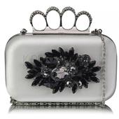 Dámské psaníčko LS Fashion Crystal- stříbrná,