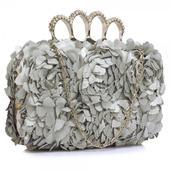 Dámské psaníčko LS Fashion Flower- stříbrná,
