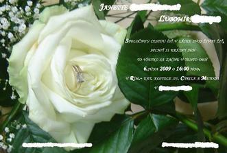 svadobne oznamenie - urobili sme si ho sami zo zasnubnej kytice a snubneho prstena