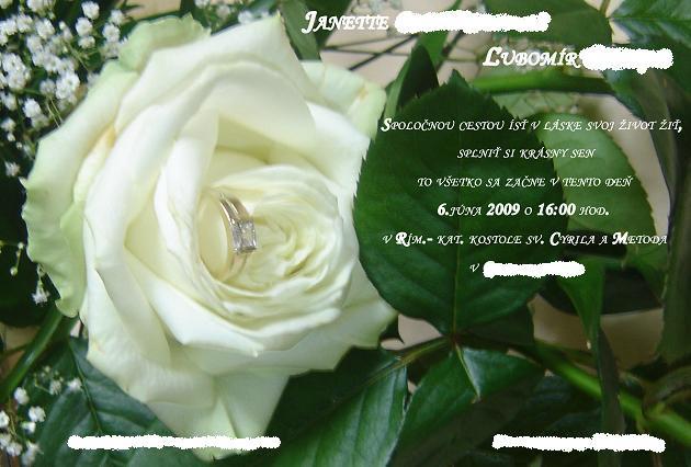 Janette a Lubomir - svadobne oznamenie - urobili sme si ho sami zo zasnubnej kytice a snubneho prstena