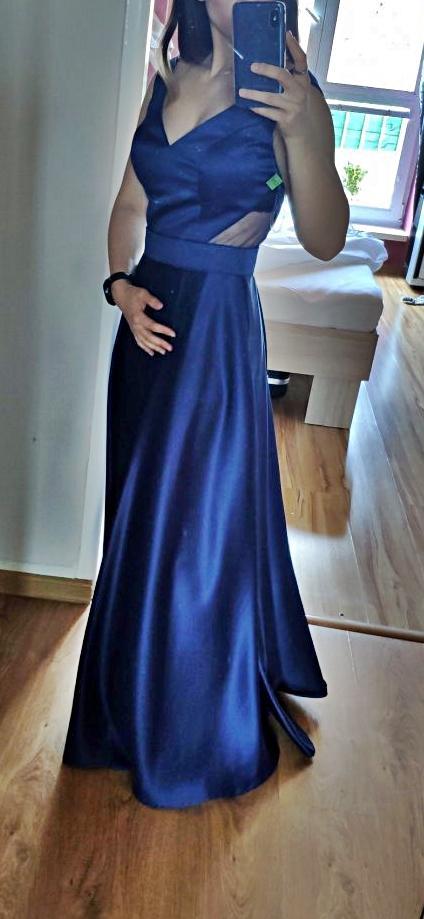 Spoločenské šaty modré s V výstrihom popolnočné šaty - Obrázok č. 1