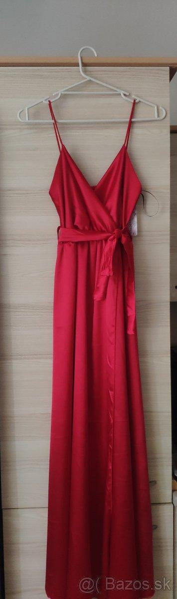 Saténové dlhé šaty malinovo-červené - Obrázok č. 1
