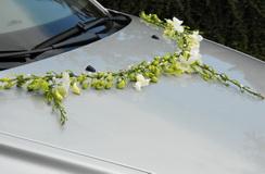 květinová dekorace na autíčko určitě bude