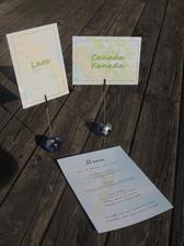 """""""čísla"""" na stoly a svatební menu"""