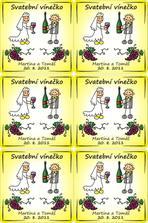 vinětky na vínečko - sice bude stáčený v petlahvích, nebo soudek, ale pár lahví koupím a vystavím