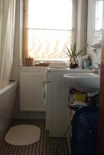 Koupelna... prevlada bila a smetanova + drevo/prouti