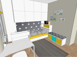 Navrh izby č. 1 - pohľad od šatníka