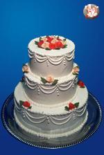 Tak tohle je náš svatební dort...akorát že kytičky budou všechny oranžové, nahoře budou ženich s nevěstou a nebudou všechna patra na sobě, nýbrž na konstrukci...mňam, už se na něj těším :o)