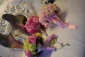 Svadobné kytice Pivónie, fialové , ružové Ruže a s,