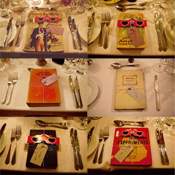 AD wedding - Tak tomu říkám inspirace! Jmenovky a dárečky v jednom - knihy z antikvariátu.
