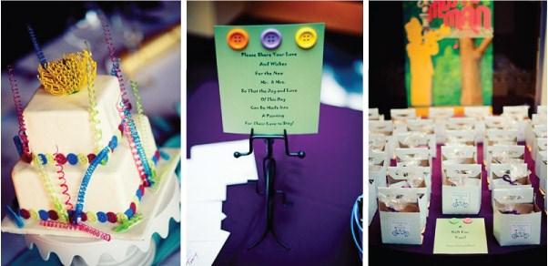 Knoflíčková svatba / wedding button - dort,meníčko,jmenovky