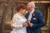 Luxusní svatební šaty s kapsami a vlečkou, 48