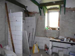 Koupelna, sprcháč 120x80 cm, pultík pro 2 umyvadla