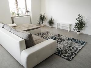 obývací pokoj, konečně koberec, chybí konferenční stolek, přestěhovat televizi, zabydlet... stále chybí výmalba za radiátory (musejí se sundat:()