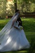 Svatební šaty,závoj a boty, 40