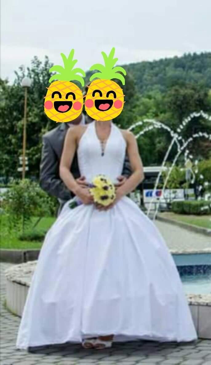 Svadobné šaty s vlečkou xs/s/m - Obrázok č. 1